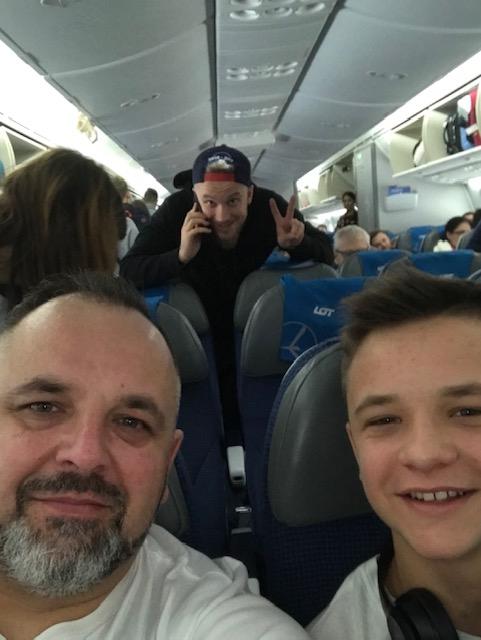 Z Kacpa w samolocie Dreamliner
